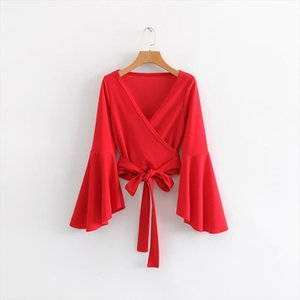 womens clothing Hot sale FF35 558 European and American fashion big trumpet sleeve blouse Drop Shipping