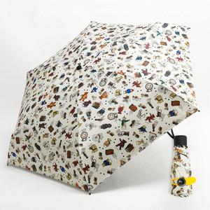 Mini Pocket Umbrella Femmes Super Light Creative 5fold Manuel Pocket style britannique parapluie pluie soleil femmes enfants Paraguas jllBQJ lucky2005