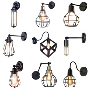 Vintage Industrial Wall Lamp,American Loft wall Light,Simple lampshade,E27, cage guard sconce,for corridor restaurant Store 1022
