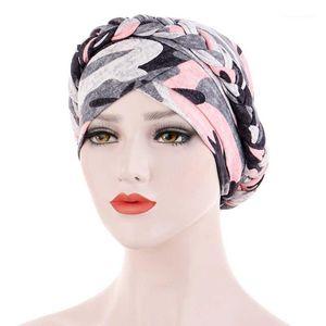 Caps Head Wrap Elegante Braid Knot Knot Donne Turban Fashion Headwear Stampato Accessori per capelli stampati musulmani hijab beanie arab uno plat1
