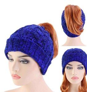 Lady Ponytail Chapeaux Mode Bonnet tricoté femmes Messy Bun Calotte chaud crochet chapeaux tricot Prêle Cap Outdoor Hat HHA2108