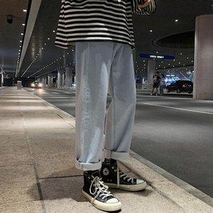 2021 New Hombre Puro Retro Straight Tube Coreano Trendy Jeans Mens Pantalones sueltos Gran tamaño Casual completo