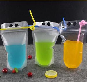 17oz 500 ml Bolsas de bebidas claras Bolsas con cremallera helada Soporte de plástico Bolsa de consumo de plástico con paja con el soporte Reclos Jlllas Bdebag
