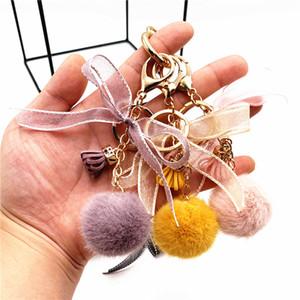 Pom Pom Fluffy Key Rings Soft Plush Charm Ball Keyring Colorful Faux Fur Keychain for Women Girls Car Bags Accessories Kimter-C387FZ