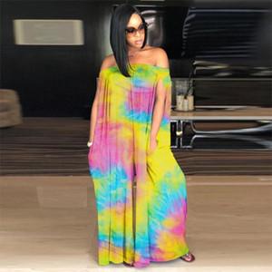 FixSys Lady Sexy Slash Col Sans Manches Imprimé Grand Taille Jumpsuit Casual Fashion Load Wide Jumpsuit Femmes