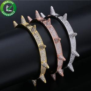 Luxury designer jewelry mens bracelets brand hip hop pandora style bracelet iced out diamond gold bangle lucky charms rock rivet accessories