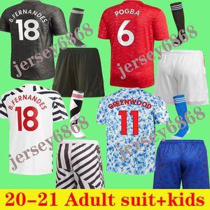 Fernandes Suild Counte Kids 20 21 футбол Джерси Детский комплект Pogba Rashford Kids Kit Рубашка 2020 2021 рубашка Детские + Scoks