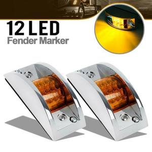 2pcs 12V Clearance Running Light 12LED Truck Trailer Rails Amber Chrome Armored Lamp IP65 Waterproof And Dustproof1