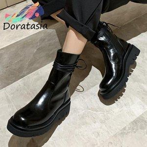 Doratasia Geneine Deri Kadın Yeni Varış Serin Ayak Bileği Ayakkabı Zip Bahar Sonbahar Lace Up Yuvarlak Ayak Çizmeler Kadın Çizmeler