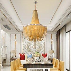 Modern silver chandeliers lighting living room  chandelier with golden fringe bedroom aluminum tassel lights for kitchen