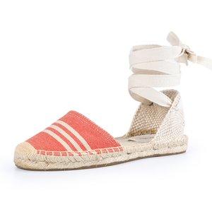 0928 ile Shariq Soludos 2019 Yaz Kadın Espadrilles Kauçuk Sole Flatform Sandalet Çapraz askısı Casual Pötikareli Dantel-up Moda Düz