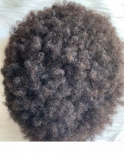 4mm Afro Hair Full Lace Units 10mm Wave Lace PU Toupee 8mm Wave Full PU Toupee 10A Indian Virgin Human Men Hair Replacement