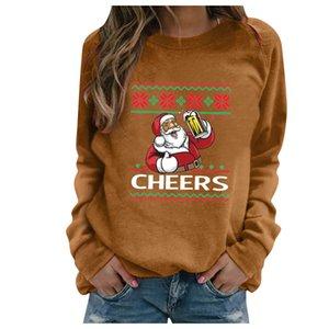 Chirstmas S-3XL Блуза для женщин плюс размер Chirstmas печати с длинными рукавами Толстовки Повседневный Открытый Блуза пуловеры