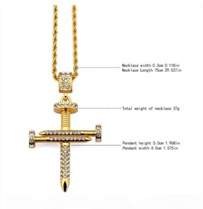 K Men &#039 ;S Gold Plated Cz Iced Out Nail Cross Pendant Bling Necklace Hip Hop Swag Jewelry