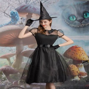 Halloween new black yarn witch costume witch clothes with hat temperament dark night ghost game costume stage costume Size M-XL