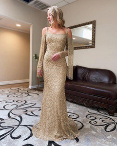 2020 Arabic Aso Ebi Gold Sparkly Sexy Evening Dresses vestidos fies Beaded Mermaid Prom Dresses Sequined Formal Party Second Reception Gowns