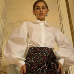 InstaHot Фонарь рукавом Элегантная рубашка Белый Черный Sexy Кнопка Vintage Блуза Turn Down Воротник офис Ladies Shirt Женский Повседневный