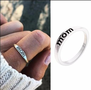 new arrival Fashion Vintage 925 Sterling Silver Mom Letter Ring Gift For Mom rings free shipping 1024