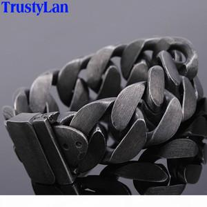 24mm Wide Friendship Mens Bracelets 2018 Black Stainless Steel Charm Man Bracelet Men With Belt Buckle Chain Link Metal Jewelry J190625
