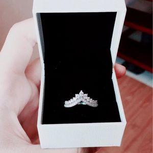 2021 Princesa desee anillo de bodas Caja original para Pandora 925 Princesa de plata esterlina Anillos de Wishbone Set CZ Diamond Mujeres de regalo de boda