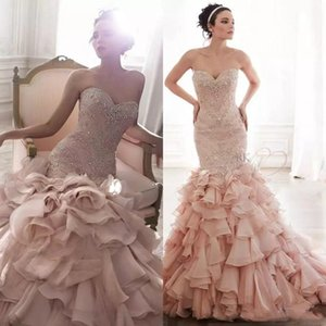 Luxury Mermaid Wedding Dress Free Shipping Blush Pink Sweetheart Neck Crystal Beads Custom Made Ruffles High Quality Wedding Dresses