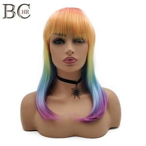 Gökkuşağı Renk Düz Saç Peruk Kadınlar Için Sentetik Peruk Makinesi Düz Bang Cosplay Ile Yapılan Peruk Ücretsiz Kargo