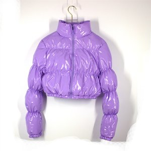 AtxyxtA Puffer Bolero Parka Escudo burbuja invierno mujeres de la manera ropa de color verde XL 1014