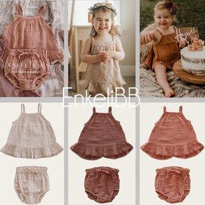 Enkelibb высококачественный малыш девушка летняя одежда комплекты бренда дизайн детские девушки слинг топ и размыты нарядное хлопок мягкий малыш y200829