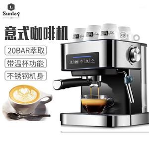 Espresso Cafetera 1.6L Mini Máquina de café Mildeo Froth Frother Double Funnel Steam Machine Semi-Automatic Espresso1
