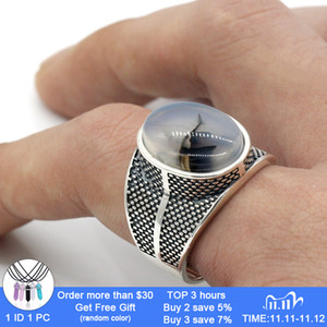 925 Sterling Silver Men Ring with Big Natural Onyx Stone Retro Punk Thai Silver Ring for Male Female Turkish Jewelry 201112