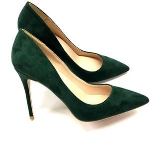 2021 Classic New Women Shoes Shoes Fashion Dark Green Guite Tacón alto Tacón alto Tacón delgado Tacón puntiagudo Puntas de vestir Shoes 10cm Naranja Velvet Stiletto Boot