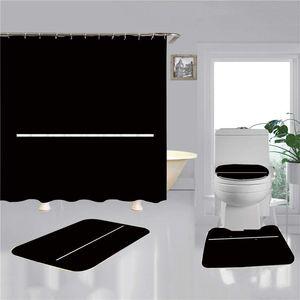 Cortinas de baño de baño de impresión 3D 4pcs Conjuntos Fashion Simple Home Bath Bath Alojamiento Cubiertas Mats Antideslizante Tabero Accesorios de baño