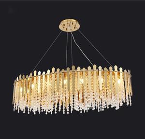 Lampadario a sospensione a ciondolo in cristallo in cristallo lungo oro di lusso moderno