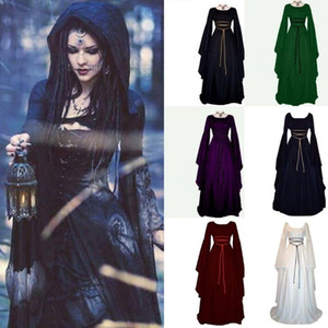 Women Halloween Dress Halloween Costumes For Women,Wizard Witch Cosplay Festival Dresses Party Long Sleeve Dress