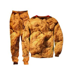 Fried Chicken 3D All Over Printed Crewneck Sweatshirts Sweatpants Tracksuits Streetwear Kid Women Men Sets US Size Dropship