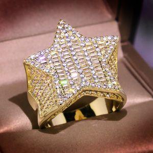 Hip Hop High Quality Vintage Moda Gioielli 925 Sterling Silver Princess Taglio Bianco Topazio CZ Diamante Diamante Donne Band Band Ring Regalo 28 J2