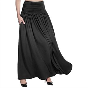 2020 New Hot Sale Women High Waist Solid Maxi Skirt Ladies Casual Swing Gypsy Long Skirt Plus Size S 5Xl Wholesale Ad