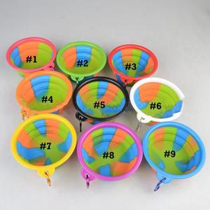 Camouflage Pet Bowl Silicone dobrável Folding filhote de cachorro Bacia Com Fivela Portátil Alimentação Viagem Food tigelas de água 9 cores EWE2054