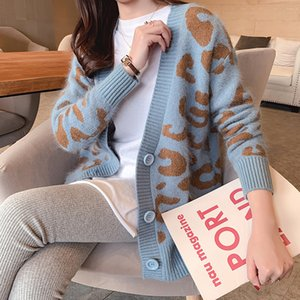 2020 New Spring Autumn Women's Cardigan Sweater and Long Leopard Sweaters Casual Loose Knitted Cardigans Outerwear Sweater M265