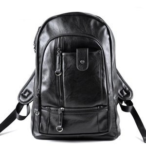 For Men PU Bookbag Laptop Backpack Men1 School Leather Vintage Bodnk