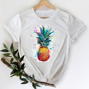 T-shirts Femmes 2021 Aquarelle Ananas d'aquarelle Mesdames 90s Dessin animé Vêtements Impression graphique Tshirt Top Lady Print Tee Tee shirt T-shirt