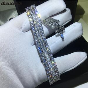 choucong Luxury Female White Gold Filled bracelets T shape 5A cz Silver Colors Wedding bracelet for women Fashion Jewelry