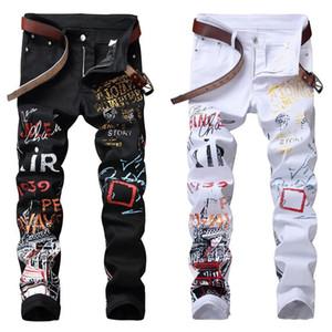 High Street Fashion Jeans Hommes Night Club Noir Couleur Blanc Personal Designer imprimé Jeans Hommes Punk Pantalons Skinny Hip Hop