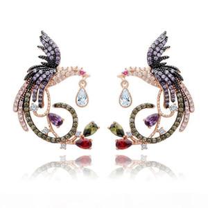 Shining Colorful Zircon Drop Earrings Chinese Phoenix Fine Jewelry Wedding Dangle Earrings for Women Gril Gift