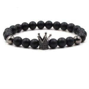 Natural Stone High Quality Zircon Crown Mens Bracelets Handmade Beads Bracelet Bangles for Men Women Jewelry