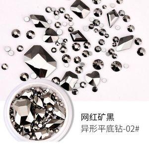 1 مربع تصميم مختلط حجر الراين الماس شقة أسفل حجر الراين بريق زجاج مسمار الفن كريستال 3d مسمار الفن de qylfkg