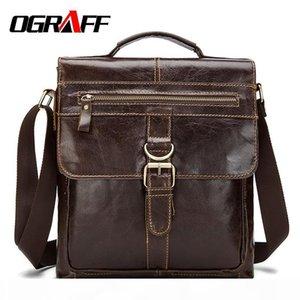 Wholesale- OGRAFF Genuine leather briefcase men messenger bags small zipper men casual briefcase business work shoulder bag