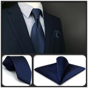 F20 Navy Solid Mens Neckties Set Classic Business Xlong Silk Gift Pocket Square Dress Ties for Men