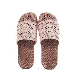 Suihyung Women Linen Slippers 2020 New Design Ladies Casual Slides Lace Sandals Flats Flax Hollow Flip Flops Summer Indoor Shoes F1224