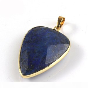 6 Pcs Natural crystal Stone Gemstone Pendants 18K Gold Plated Europe popular Style Pendant Jewelry NEW 40*26 mm